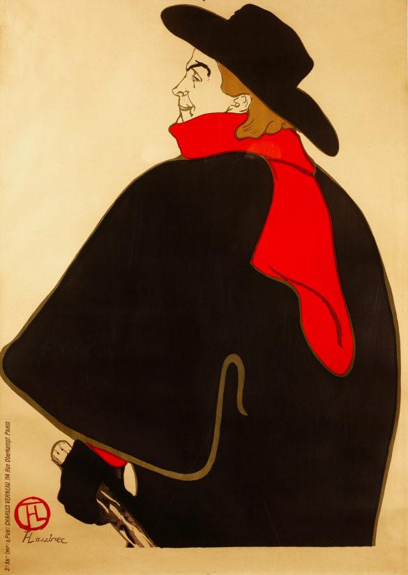 Henri de Toulouse-Lautrec Aristide Bruant, dans son Cabaret (Before Letters) 1893 Color Lithography, 127,3x95 cm © Herakleidon Museum, Athens Greece