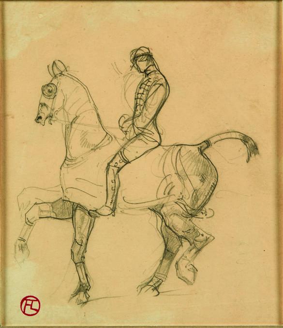 Henri de Toulouse-Lautrec Cavalier 1880 Pencil Drawing, 15,9x14,8 cm © Herakleidon Museum, Athens Greece