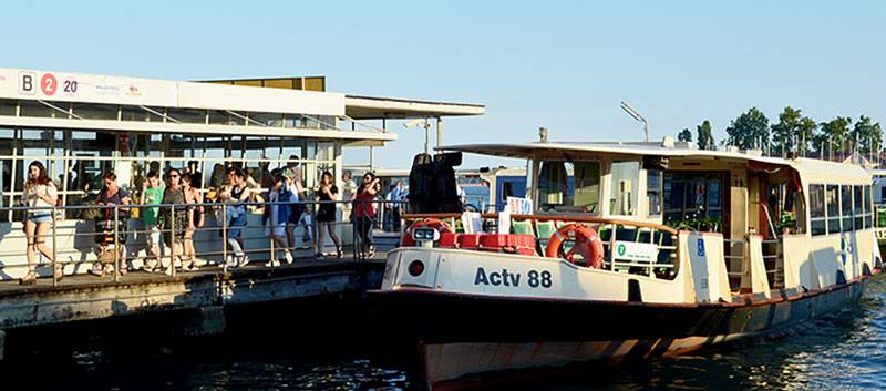 A stop of the ACTV water boat (Vaporetto)