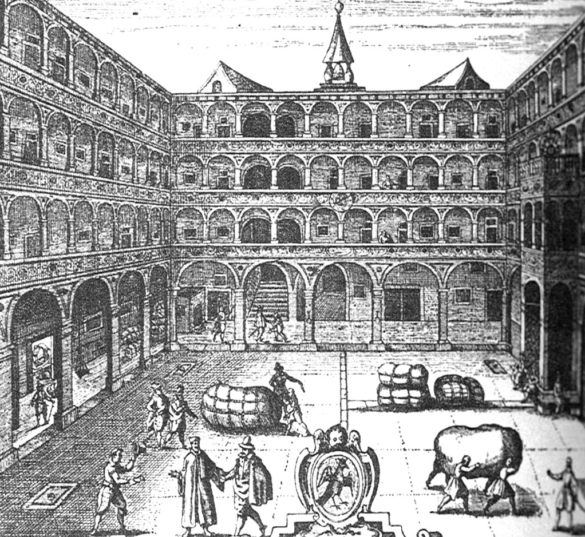 Engraving of trading activities at the Fondaco by Rafhaele Custos, 1616. Image courtesy OMA