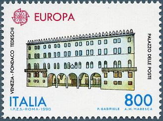 The Fondaco dei Tedeschi in a stamp printed in Italy on 7 May 1990. On the right, we can read the text 'post office'