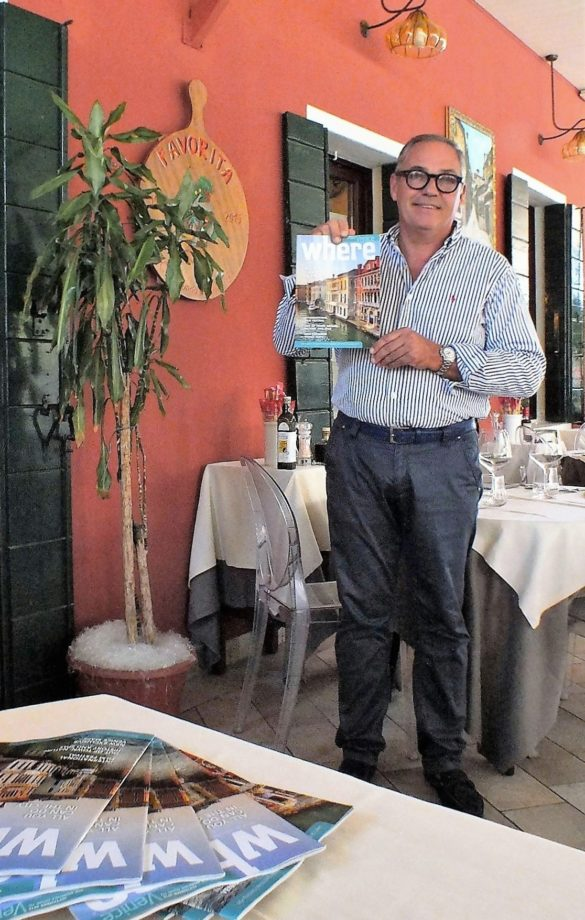 Luca Pradel owner of historical Trattoria Favorita (Lido area) reads Where Venice