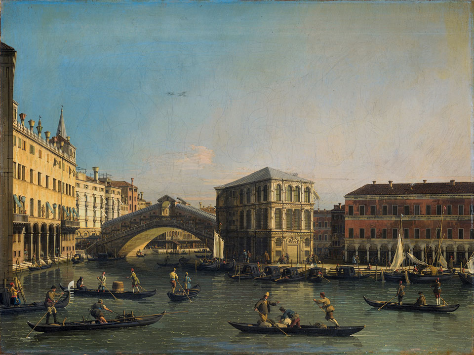 The Grand Canal with the Rialto Bridge and the Fondaco dei Tedeschi, Canaletto, 1707 - 1750 oil on canvas, h 62cm × w 83cm