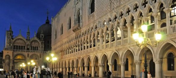 Doge's Palace by night, photo by Dennis Jarvis, CC 2.0 license
