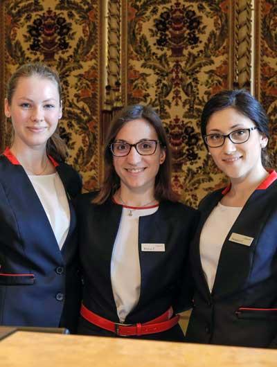 The Front Office staff, from right to left: Natalia Chevdar, Flavia Troso and Giulia Ceccato