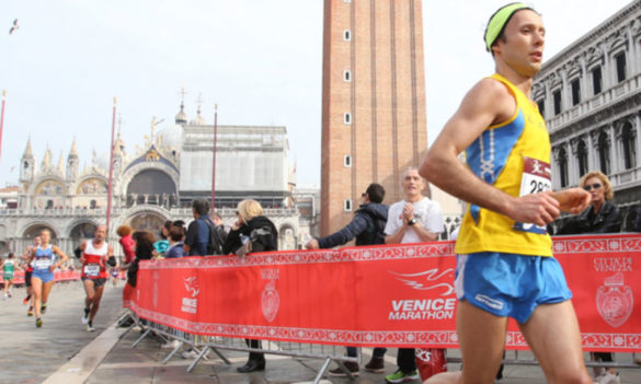 Runners in San Marco for Venice Marathon