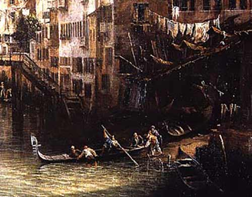 The launch of a gondola depicted by Caneletto