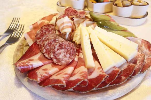 Typical tagliere of salami and cheese