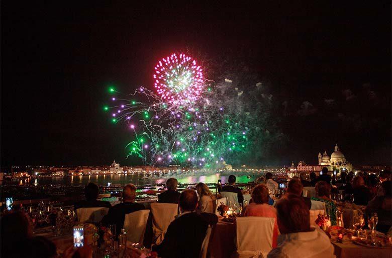 Festa del Redentore, fireworks from Terrazza Danieli, copyright Mirco Toffolo