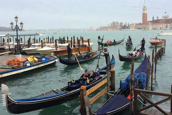 Traditional Venetian gondolas