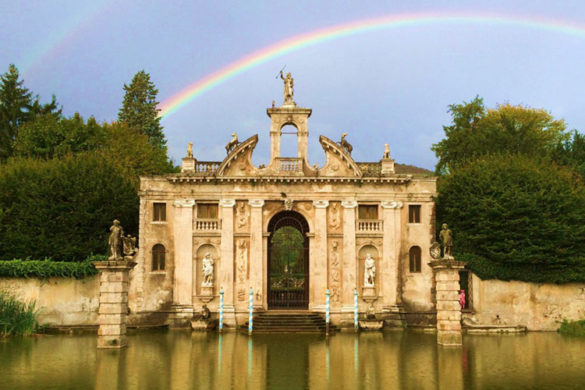 Rainbow over a portal at Valsanzibio garden